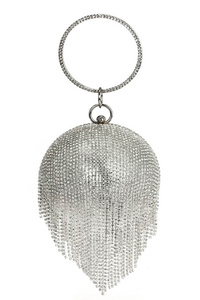 Rhinestone Fringe Ball Clutch With Metal Handle