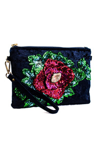Velvet With Flower Sequins Clutch With Wrist Strap