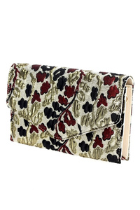 Flower Brocade Double Compartment Flap Over Clutch