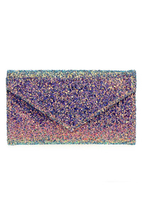Glitter Flap Over Magnetic Baguette Clutch