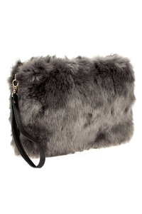 Solid Faux Fur Zipper Top Clutch With Strap