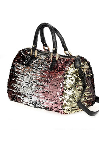Multi Sequins Double Handle Satchel Bag With Strap