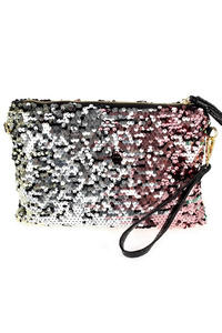 Multi Sequins With Tassels Zipper Pull Clutch