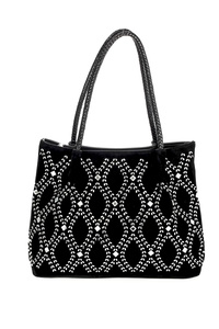 Solid Crystal With Braided Handle Tote Bag