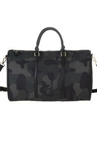 Solid Large Duffle Or Overnighter Bag In Vegan Leather