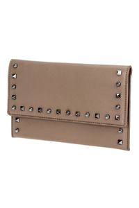 Solid Flap Over Studs Clutch With Chain Strap