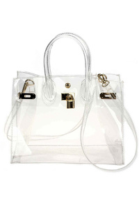 See Through Chain Accented Satchel Bag