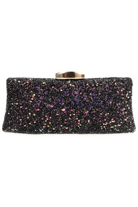 Glittered Clip On Clutch With Chain Strap