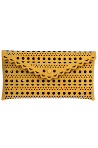 Solid Laser Cut Flap Over Envelope Clutch With Strap