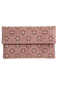 Solid Laser Cut With Center Stones Flap Over Clutch With Strap