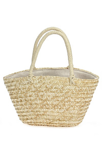Small Straw Double Handle Tote Bag