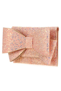 Metallic Glittered Bow Tie Accented Clutch With Chain Strap