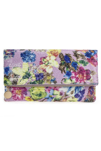 Flower Print On Boucle Fabric Flap Over Clutch With Strap