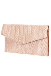 Solid Zig Zag Textured Flap Over Envelope Clutch
