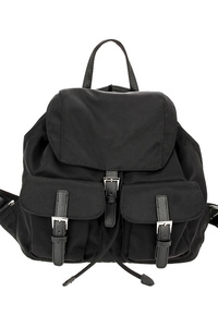 Solid Double Front Pocket Flap Over Backpack