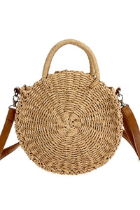 Restocked Straw Round Shape Messenger With Handle And Strap