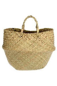 Straw Foldable Sea Grass Bucket Style Tote Bag