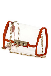Clear See Through Flap Over Color Trim Messenger Bag
