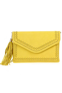Solid Stitched Flap Over Tassel Clutch With Strap