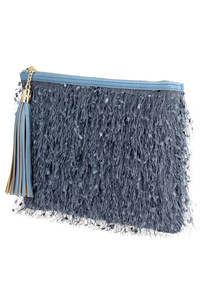 Solid Fringes And Tassels Zipper Top Clutch With Strap