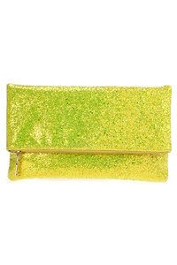 Metallic Glitter Flap Over Zipper Top Clutch With Chain Strap