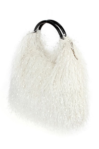 Solid All Over Fringes With Ring Handle Tote Bag