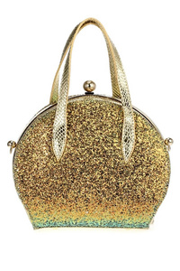 Metallic Glittered Framed Satchel Doctor Bag With Strap