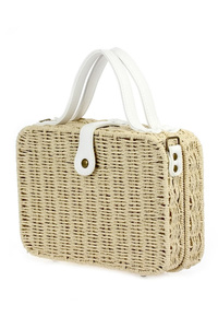 Straw Flap Over Lunch Box Style Messenger Bag