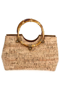 Solid Cork Like Wooden Handle Tote Bag