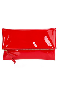 Solid Shinny PVC Flap Over Clutch With Strap