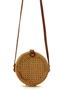 Canteen Rattan Straw Round Messenger With Strap