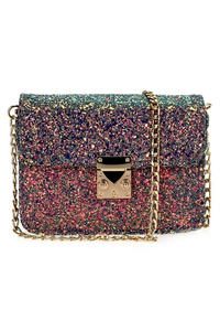 Flap Over Clip On Glitter Messenger Bag With Strap