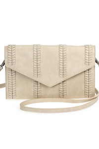 Solid Stitched Flap Over Clutch With Strap