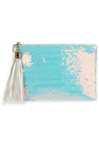 Sequins Zipper Top Clutch With Tassels With Chain Strap