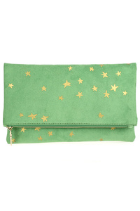 Solid With Stars Flap Over Clutch With Strap
