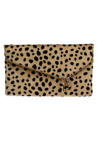 Leopard Synthetic Fur Design Fold Able Envelop Clutch With Chain Strap