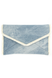 Solid Denim And Stitch Edged Flap Over Clutch With Strap
