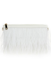 Solid Feather Clutch With Strap