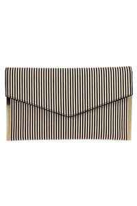 Stripe Flap Over Envelope Cluth With Strap