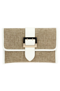 Solid Linen With Jute Buckle Flap Over Clutch With Strap