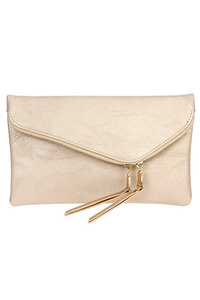 Solid Flap Over Envelope Clutch With Strap