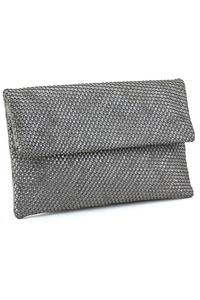Solid Metallic Flap Over Weaved Clutch With Strap