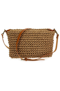 Straw And Solid Trim Messenger Bag With Strap
