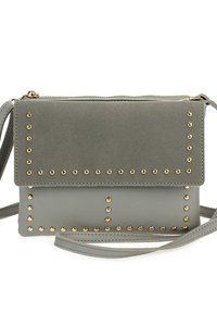 Solid Flap Over Studs Accented Messenger Bag