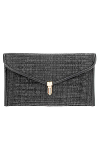 Solid Straw Flap Over Clutch With Chain Strap