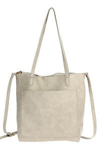 Solid Slim Double Handle Tote With Strap