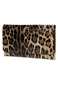 Leopard Patent Flap Over Clutch With Chain Strap