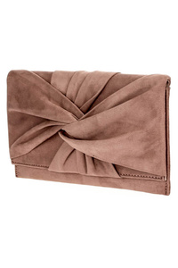 Solid Twisted Flap Over Clutch With Chain Strap