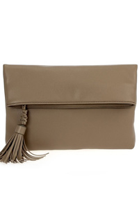 Solid Flap Over With Tassels Clutch With Chain Strap