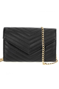 Solid Chevron Quilted Flap Over Clutch With Chain Strap